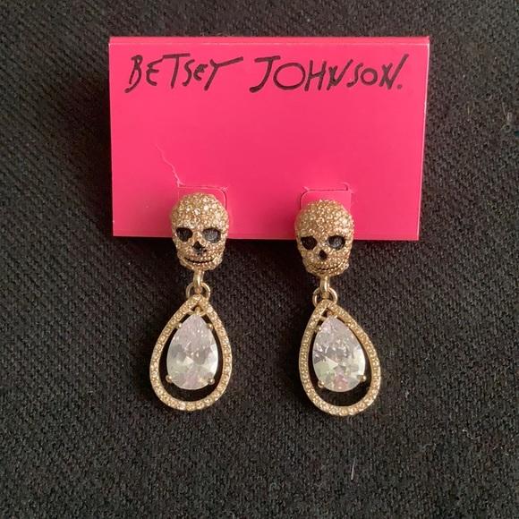 Betsy Johnson Skull/Crystal Earrings